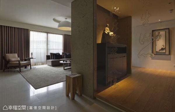 旧有客厅规划中,另有和室与礼佛区的格局,富亿设计将图书与佛堂整合为多功能区,放大其他生活机能。