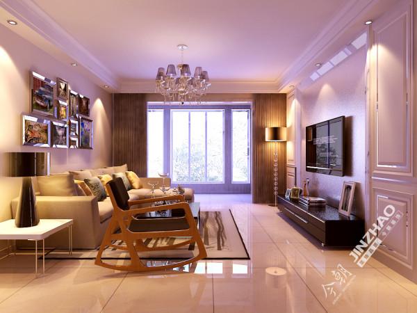 整个客厅的氛围时尚又温馨,电视墙采用简单的石膏造型,搭配舒适的家具,协调而美观。