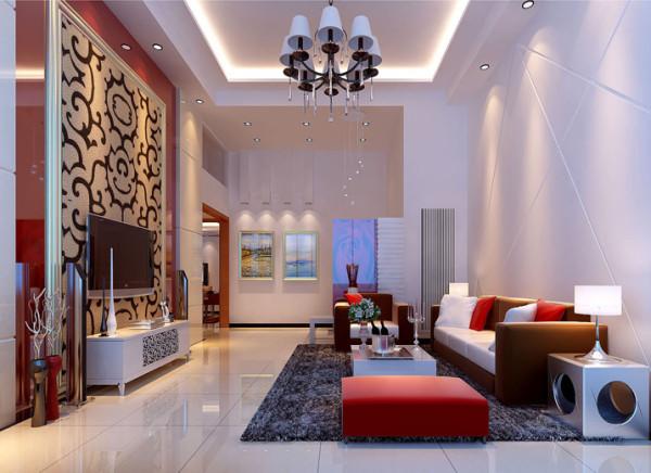 设计理念:电视背景墙,暖色壁纸背景搭配红色的石材墙面,使空间更鲜明具有冲击力,色彩能营造气氛,不需要太多的空间亮点,让一切功能收敛于平淡婉约,简约不失华丽。