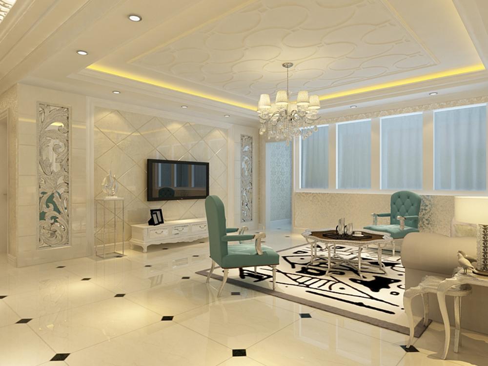 设计的风格是简欧风格,客厅采用米黄色抛光砖,米黄色能包容大量颜色