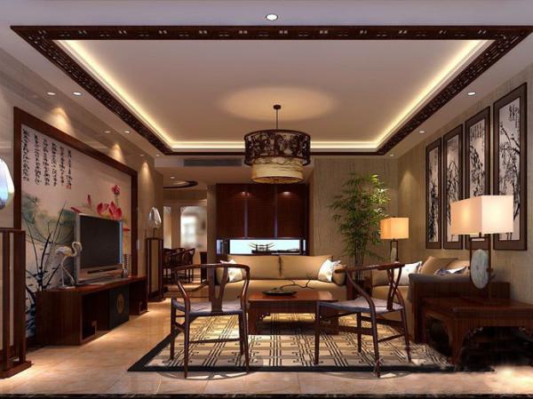 客厅采用瓷砖上墙方式加上中式壁纸作为背景墙,顶面采用回型吊顶加中式木格做搭配 。
