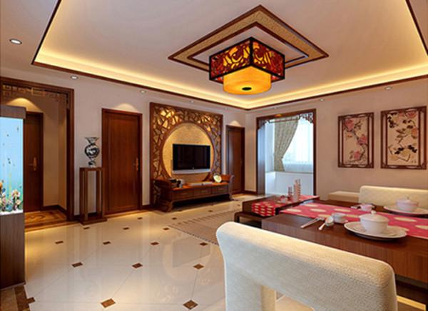 天津实创装饰-珑著新中式风格 局部空间采用中国传统纹样镂空雕刻,以现代为主兼用中国古典装饰元素,溯古但不复古质地板、木质家具、顶面简洁的吊顶结合实木线