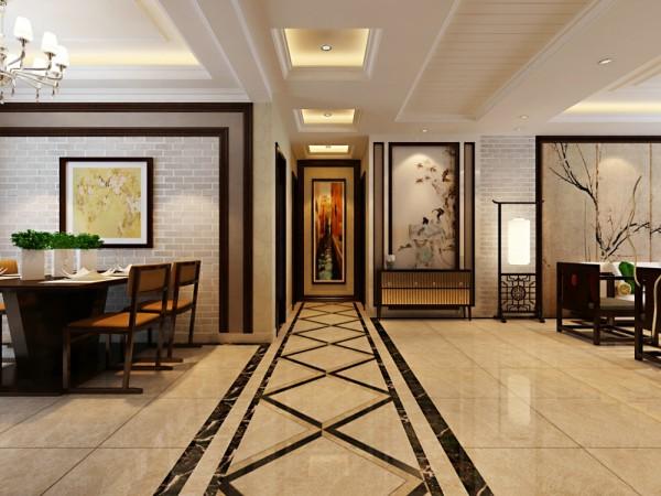入口的玄关,给人进门第一感觉,玄关以有深意的图画在装饰,走廊的拼花,都呈现出极简的中国风,餐厅背景墙和电视墙相呼应,融入了现代和中式的的俊秀雅致。