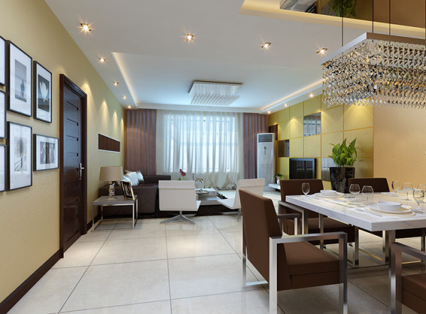 郑州127平方建业桂园三室两厅一卫一厨装修案例,餐厅、客厅装修效果图