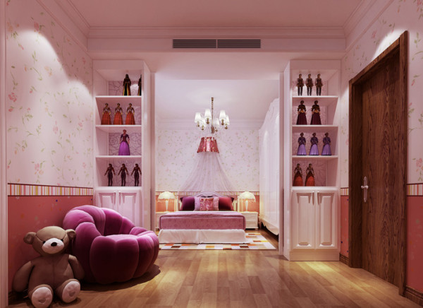 设计理念:女儿非常喜欢芭比娃娃并有大量收藏,所以设计了展示书柜。墙面壁纸很柔美,犹如小女孩粉嫩的小脸蛋。空间整体粉嫩可爱,但又大方得体整洁合理。