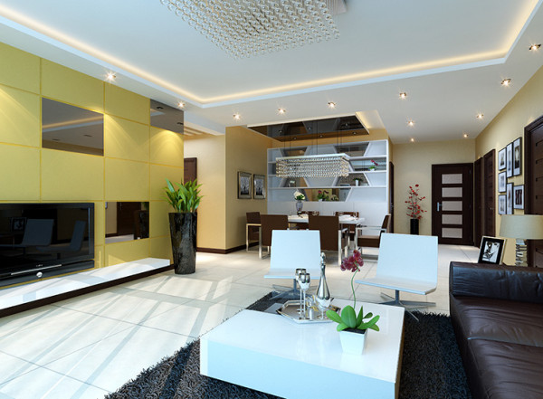 建业桂园127平方三室两厅一卫一厨装修案例,客厅装修效果图
