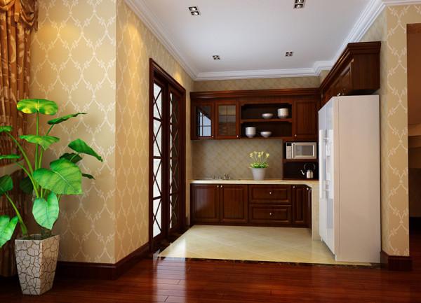 【成都实创装饰】海上海—欧式风格—整体家装—厨房装修效果图 亮点: 开敞式的厨房,给人宽阔,大气的感觉。空间的分布处理合理。与生活完美的结合