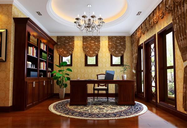 【成都实创装饰】海上海—欧式风格—整体家装—书房装修效果图