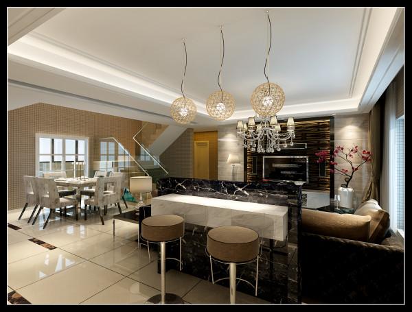 客厅餐厅及厨房区全部开放式使整体空间看起来更为开阔,视觉上有延伸的效果。在材质运用方面,背景墙选取灰色木纹大理石与黑色不锈钢深色墙纸搭配,,令客厅效果变得更鲜明,更加充满现代感和年轻气息。