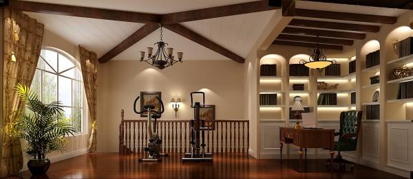 二层书房效果细节图 成都高度国际装饰设计