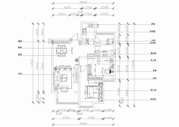 我设计的户型是两室两厅一厨一卫,一进入户门左手边是一个悬空鞋柜,右手边是餐厅区,餐厅区除了必要的餐桌椅 以外还设置了酒柜,以便主人藏酒,品酒。