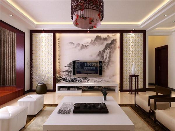 客厅用色比较清秀,沙发的设计十分独特,仿佛自身就是一副夏日湖景图,加上沙发背景墙的大幅画卷的处理,让这个客厅简单朴素却艺术底蕴深厚。