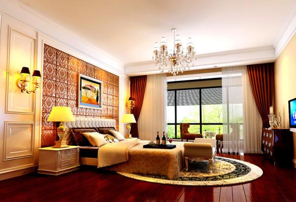 成都实创装饰】海上海—欧式风格—整体家装—卧室装修效果图 设计理念 :卧室是主要的休息空间,色彩搭配舒适内心,放松身体,调节疲惫的神经,用风格独特的天棚与墙面造型突出房间整体的风格
