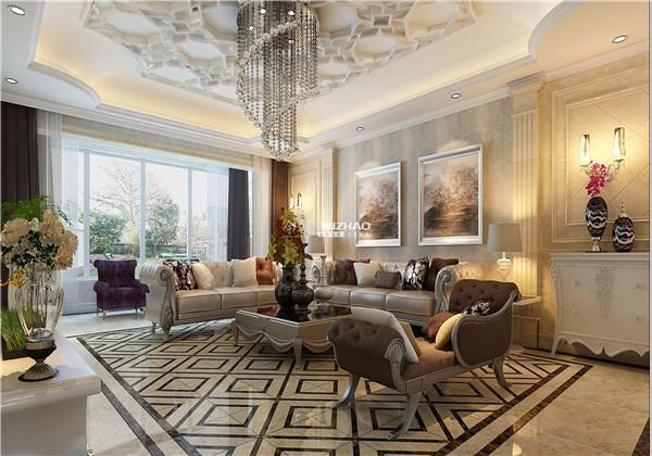 吊顶的花式搭配水晶灯给人一种宫殿的感觉,沙发和座椅的形状别具一格。