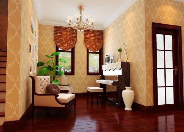 【成都实创装饰】海上海—欧式风格—整体家装—钢琴区装修效果图 设计理念 :休闲空间应该合理的利用房间的空间,布局和装饰与整个风格和房间统一。