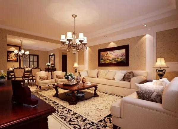 设计理念:地毯和装饰画增加了空间的生气,配以美式沙发,有着不过分的张扬,又有其低调的奢华。