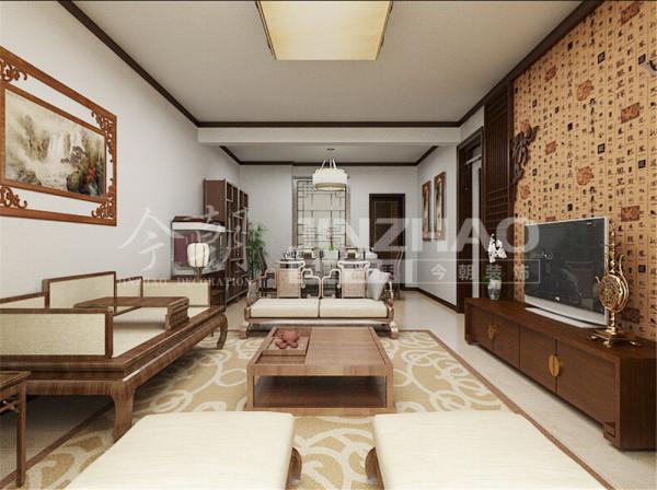 客厅的北京墙充分体现了中式风格,显得很艺术气息和体现了业主的儒雅气质!