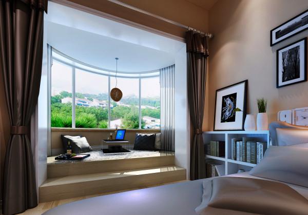 【成都实创装饰】中大君悦金沙花园—现代简约风格—整体家装—卧室装修效果图—阳台装修效果图 亮点: 着重配饰的选择,贴合原始户型上的造型。以轻装修重装饰的设计理念。与整体空间协调。