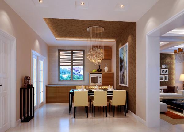 【成都实创装饰】中大君悦金沙花园—现代简约风格—整体家装—餐厅装修效果图 亮点:天棚的造型和墙面的造型完美的衔接 ,在整体上给人一种干净,围合现代风格。