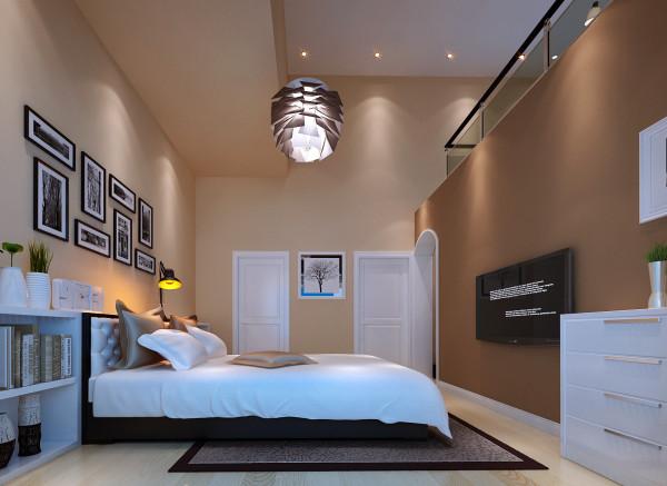 【成都实创装饰】中大君悦金沙花园—现代简约风格—整体家装—卧室装修效果图 空间的合理改动与周围的结合 亮点:空间的合理改动与周围空间墙体完美结合,现代感强烈,