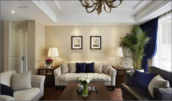美式风格两居室装修90平米装修老房装修客厅高清图片