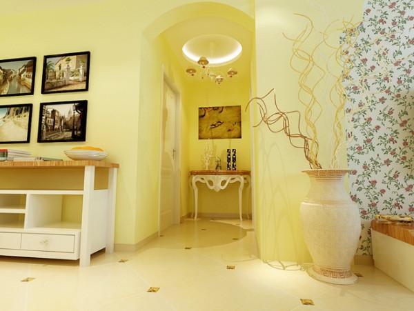 整体以清新淡雅的淡黄色为主色调,搭配上碎花沙发与壁纸,木质矮桌的修饰,枝形吊灯点缀,整体营造出悠闲自在的田园风。