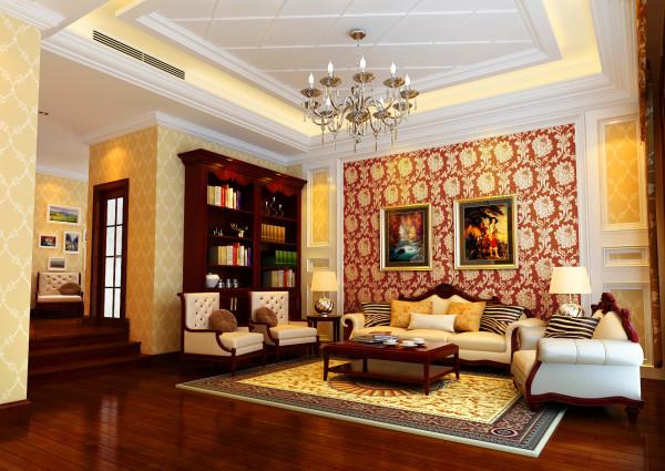 亮点:偏古典的地板颜色很好的衬托了欧式风格,油画的感觉更添增了几分欧式的韵味,天棚的造型与墙面的造型很完美的结合到了一起。