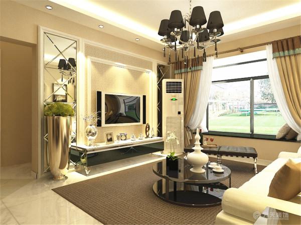客厅很方正但偏小,回字形吊顶加灯带筒灯修饰,沙发是白色的加两个深色抱枕装饰,沙发背景墙是三幅挂画,凸显了简约的气息。电视背景墙采用的是菱形镜加石膏线装饰,时尚中凸显高贵。地板是800×800的地砖