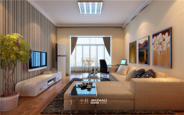 条纹样式的背景墙让空间变得有色调,沙发背景墙的挂画让空间变得五彩纷呈。