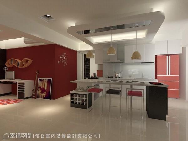 结合餐桌功能的吧台设计,设计师特别订制系统柜打造风格统一的红酒柜。(此为3D合成示意图)