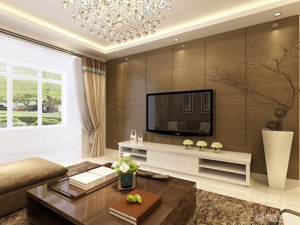 电视背景墙是设计人们关注的重点,因此,采用了港式传统的设计手法木板上墙的手法来装饰。在餐厅灯的选择上沿袭了现代感十足的水晶吊灯