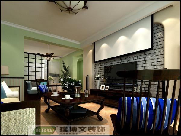 由于业主为年轻夫妇,综合业主对幕布的喜好,客厅造型搭配投影仪设计布局,整体色调采用更加贴近于自然的抹茶绿,让忙碌的生活中多了一份舒适。