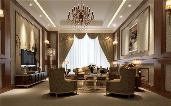 已精美的沙发为主体,华丽的灯饰,浓郁的色彩都有雍容华贵的装饰效果,背景墙是大幅的装饰画,整个客厅充满了艺术气息。