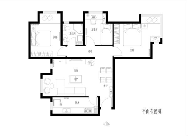 此户型为三口人居住,一对夫妇和5岁的儿子。三居室分别为主人房、儿童房及客房。装修风格为现代风格,要求典雅大方、不过张扬。客厅要求有摆放鱼缸的位置,供主人闲暇之余欣赏。