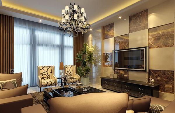电视背景墙、沙发背景墙均采用大理石交叉错落,显得整个客厅庄重大方。