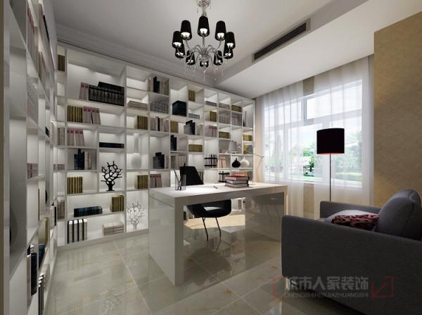 首创漫香郡240平米户型一楼书房设计效果图