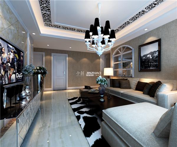 象牙白的门搭配白色的吊顶,黑白相间的地毯搭配吊顶灯饰,看起来卓有成效。