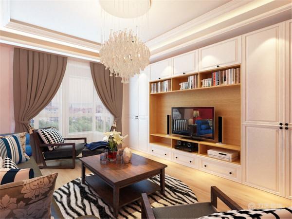 在客厅部分,顶面运用了叠级吊顶和灯带,让顶面层次分明,韵感十足。沙发背景墙大面积运用红色,让空间的中间部分靓丽起来,搭配了蓝色的绒布材质的沙发,质感十足,配以深木色的茶几、配椅,让空间沉稳下来。