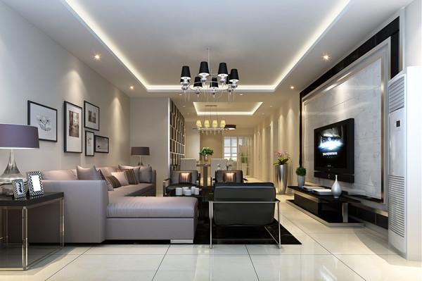 北京城建世华龙樾三居室135平米户型客厅效果图展示