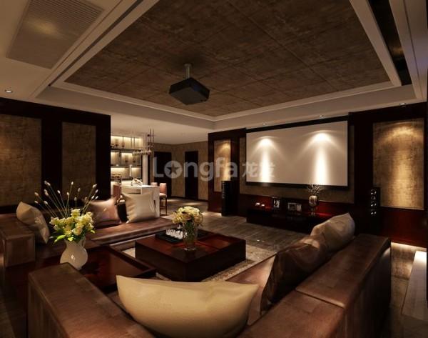 地下一层:负一层客厅的设计给人一种成熟、稳重、大气的感觉,首先在家具上大量使用了给人感觉沉稳的深色基调与颜色较浅的沙发形成了一种较强的对比性,同时也使整个空间充满着艺术的气息。
