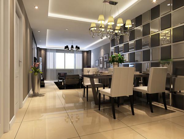 北京城建世华龙樾三居室135平米户型餐厅效果图展示