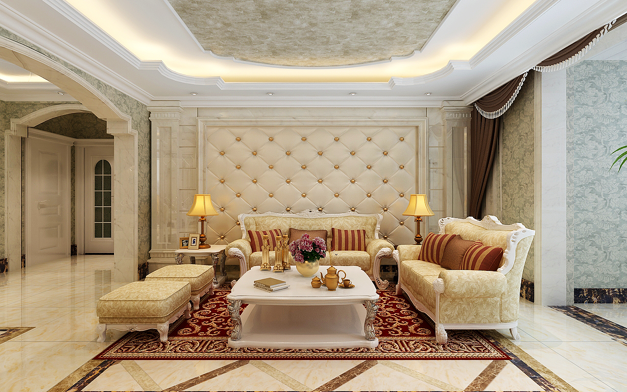 欧式国仕山小区元洲装饰客厅装修效果图片_装修美图图片