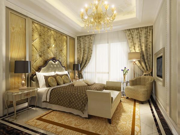 整体空间以奶咖、米黄和棕色为基调,局部深浅不一花色相近的欧式大花,与浅奶咖色的墙布搭配,提升了整体墙面的层次感。