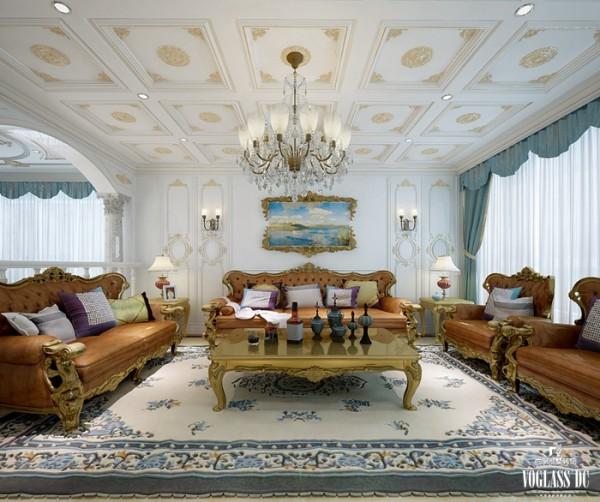 家具和软装饰来营造客厅的整体效果。简单重复的白金格子天花板,与颜色简单花纹重复的地毯上下呼应,黄褐色真皮沙发与之对应,增加了较多的情趣与快感。