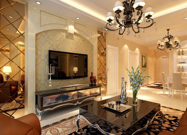【成都实创装饰】红树湾—欧式风格—整体家装—客厅装修效果图 亮点:客厅的设计地面铺上了深咖色带花纹的地毯,地毯的舒适脚感和典雅的独特质地与欧式沙发的搭配相得益彰。