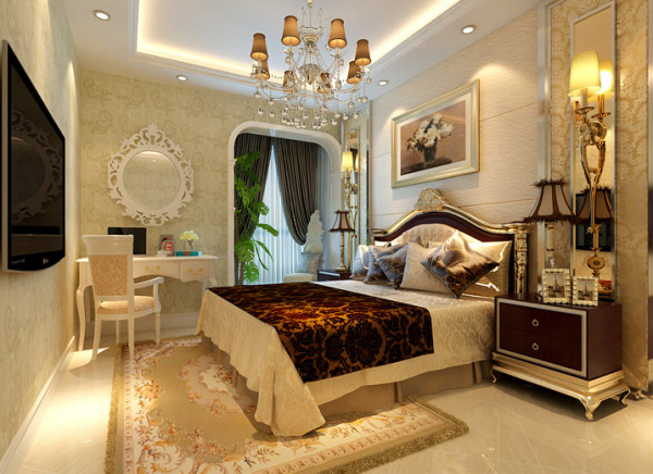 【成都实创装饰】红树湾—欧式风格—整体家装—卧室装修效果图 亮点:卧室的白色梳妆台更突出了整个空间欧式的感觉与整体色彩完美融合,简欧典范十足。