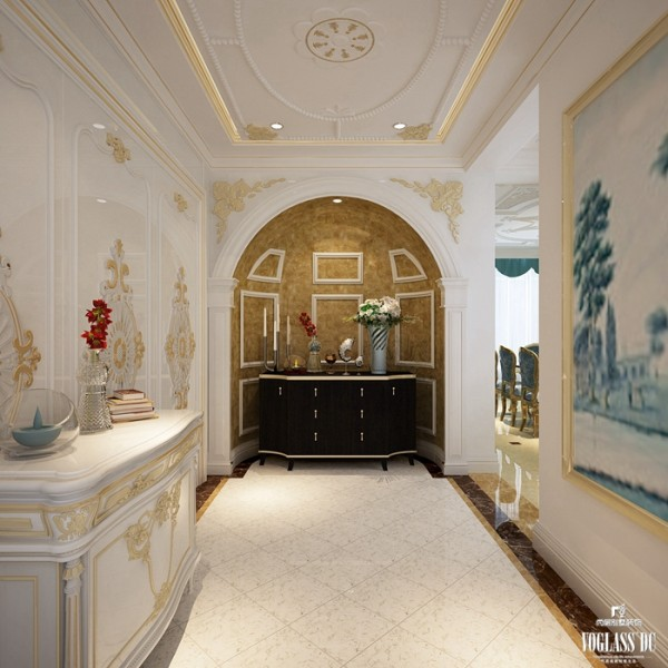 玄关作为整个房间的入户,以白色、金色为主,白色为底,金色作为装饰修饰整个入户空间,绚丽但不过分;向里凹陷的迎门墙包裹着视觉和花束,带来无限的遐想。