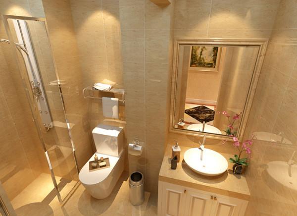 【成都实创装饰】红树湾—欧式风格—整体家装—卫生间装修效果图 奢华明亮的洗手间 亮点:洗手间在格局上做了一些变动,使整个空间具有干湿分开的功能。