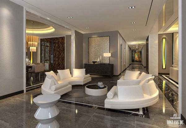 休闲区空间装饰多采用简洁硬朗的直线条,搭配整洁干净的白色,反映出业主追求简单生活的居住要求,更迎合了中式家具追求内敛、质朴的设计风格。