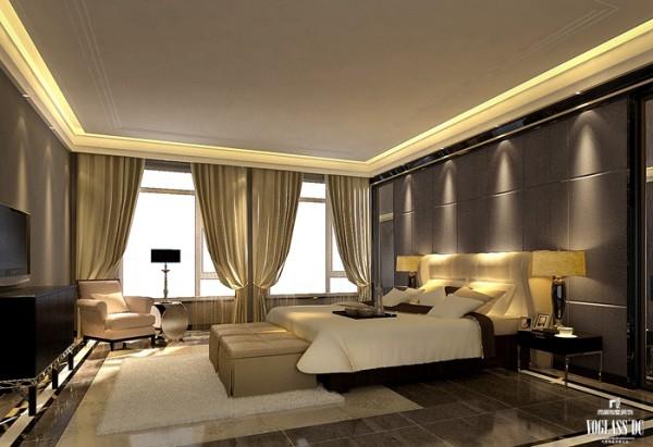 主卧室背景墙采用了舒适的软包造型,与中式雕花的艺术玻璃点缀,使古典和现代的完美结合在此空间体现得淋漓尽致。